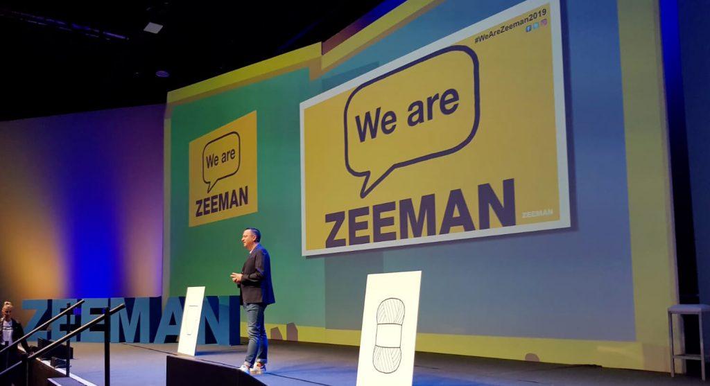 CEO Erik-Jan Mares van Zeeman geeft een presentatie tijdens een event in de 'We are Zeeman' campagne