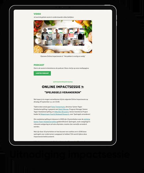Uitnodiging online impactsessie van stichting Samen tegen Voedselverspilling