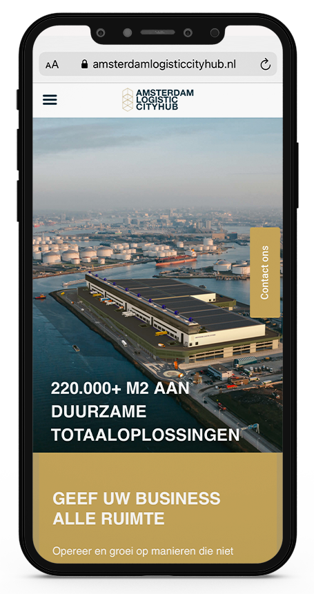 Amsterdam Logistic Cityhub Homepage op smartphone