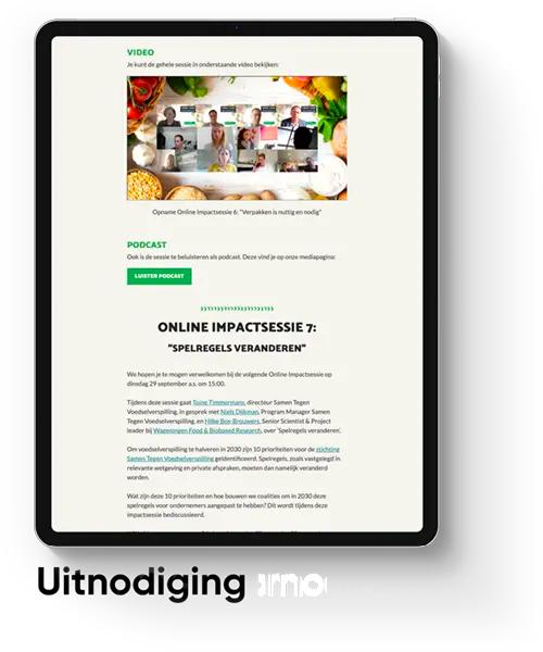 uitnodigingspagina van online sessie van samen tegen voedselverspilling.